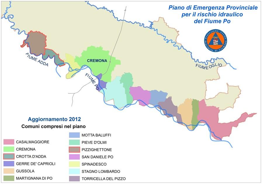 Carta comuni interessati al Piano di emergenza del Po