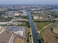 Porto di Cremona e canale navigabile visti dall'alto