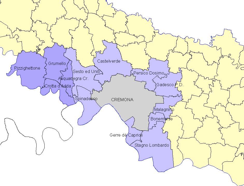 Cartina Geografica Cartina Comuni Della Provincia Di Cremona.I Comuni Coinvolti Territorio Protezione Civile E Sit Provincia Di Cremona