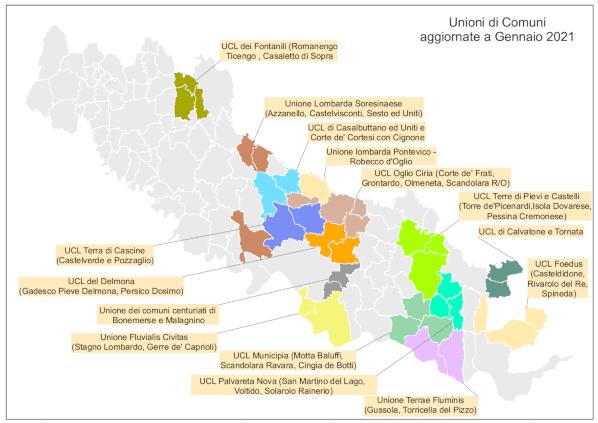 Unioni dei Comuni a Gennaio 2021